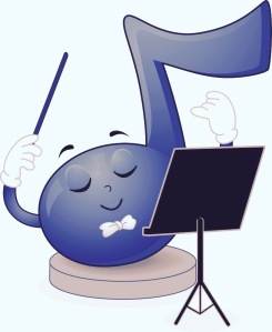 Mascot Illustration of a Blue Musical Note Waving His Baton While Looking at the Music Sheet